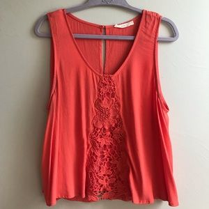 LUSH Nordstrom Coral Lace Crop Top